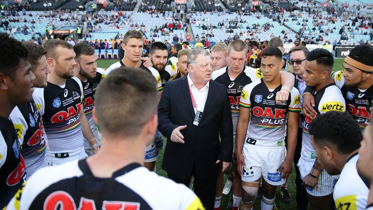 General Manager Phil Gould with the  Penrith Panthers players