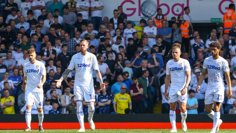 Leeds United's Pontus Jansson reacts after conceding at home to Wigan
