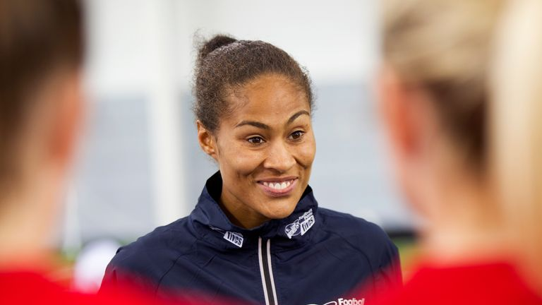 Rachel Yankey with competitors during the StreetGames Football Pools Fives event at St George's Park, Burton