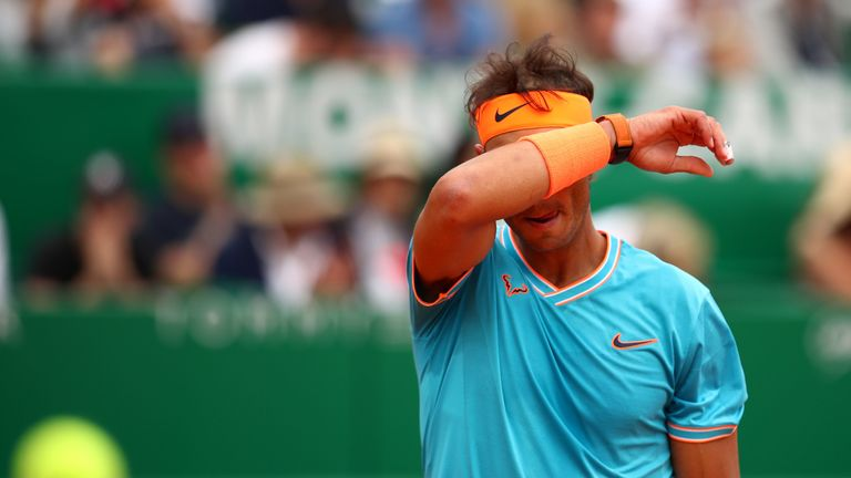 Rafael Nadal of Spain shows his dejection during his straight sets defeat by Fabio Fognini of Italy in their semifinal match during day seven of the Rolex Monte-Carlo Masters at Monte-Carlo Country Club on April 20, 2019 in Monte-Carlo, Monaco.