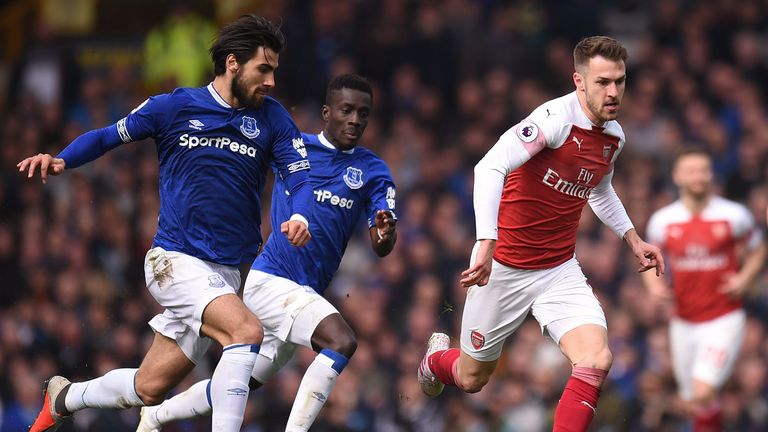 Aaron Ramsey in action for Arsenal against Everton