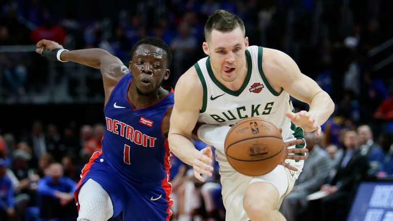 Reggie Jackson #1 of the Detroit Pistons knocks the ball away from Pat Connaughton #24 of the Milwaukee Bucks during the second half of Game Three of the first round of the 2019 NBA Eastern Conference Playoffs at Little Caesars Arena on April 20, 2019 in Detroit, Michigan. T