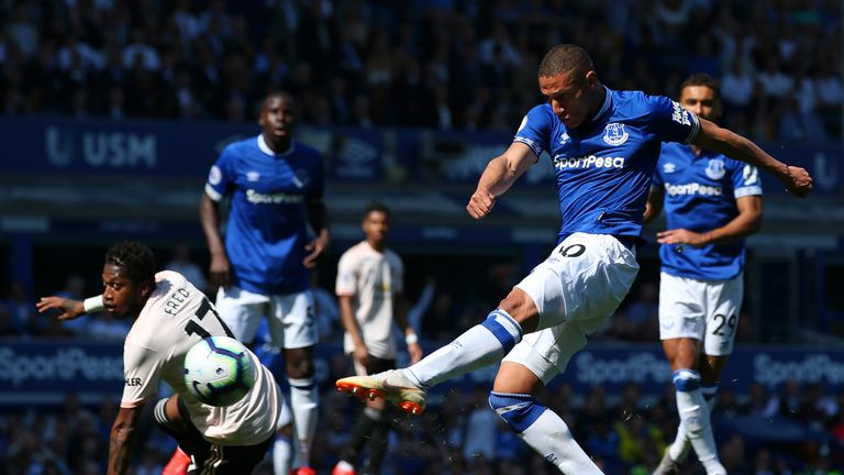 Richarlison shoots during Everton's match with Manchester United