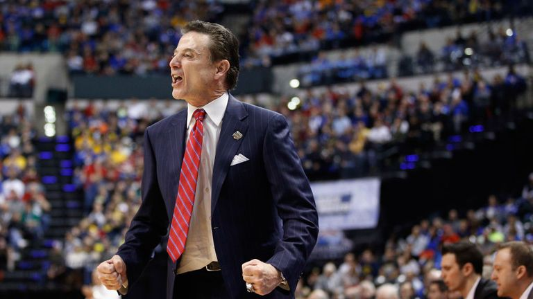 Rick Pitino in the first half during the second round of the 2017 NCAA Men's Basketball Tournament at the Bankers Life Fieldhouse on March 19, 2017 in Indianapolis, Indiana.