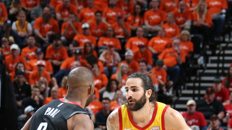 Ricky Rubio #3 of the Utah Jazz handles the ball against the Houston Rockets during Game Three of Round One of the 2019 NBA Playoffs on April 20, 2019 at vivint.SmartHome Arena in Salt Lake City, Utah
