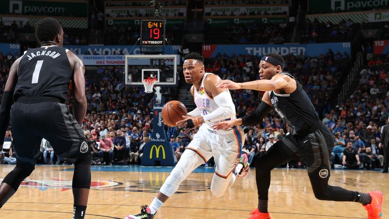 Russell Westbrook of the Oklahoma City Thunder drives to the basket against the Detroit Pistons