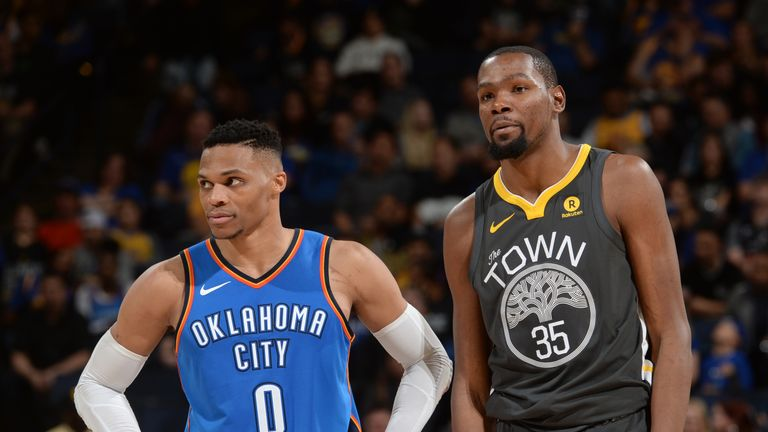 Kevin Durant #35 of the Golden State Warriors and Russell Westbrook #0 of the Oklahoma City Thunder look on during the game on February 6, 2018 at ORACLE Arena in Oakland, California.