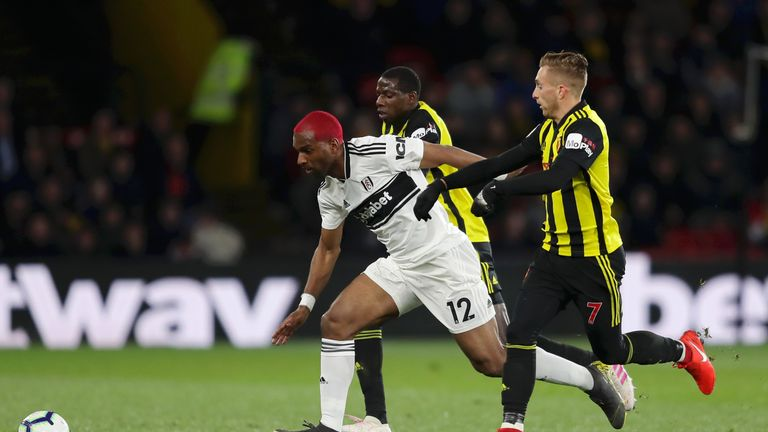 Ryan Babel  runs through to equalise for Fulham at Vicarage Road on Tuesday