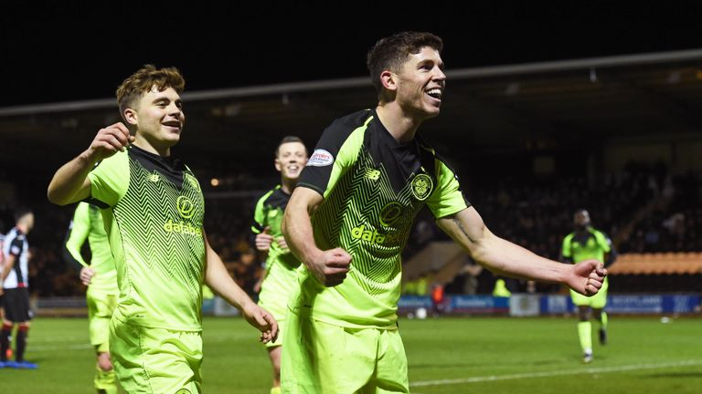 Ryan Christie celebrates with James Forrest (L) after making it 2-0 to Celtic