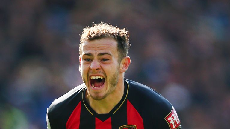 Ryan Fraser celebrates after scoring his Bournemouth's second goal during the match against Brighton