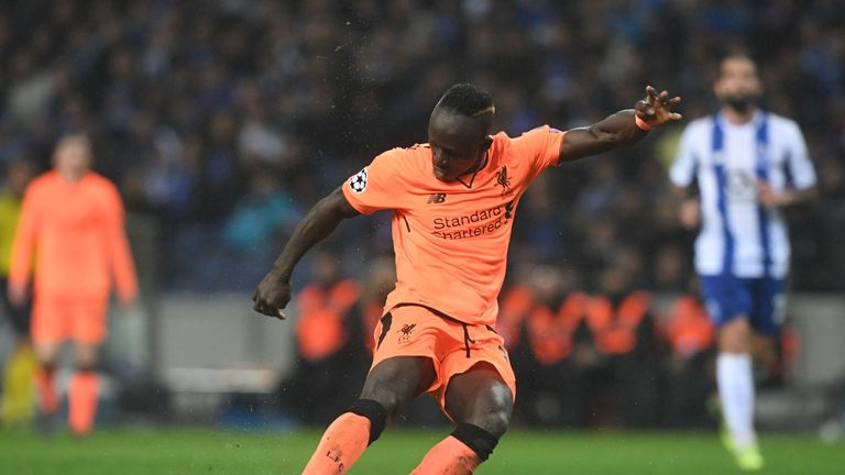 Sadio Mane scores during Liverpool's 5-0 win over Porto last season