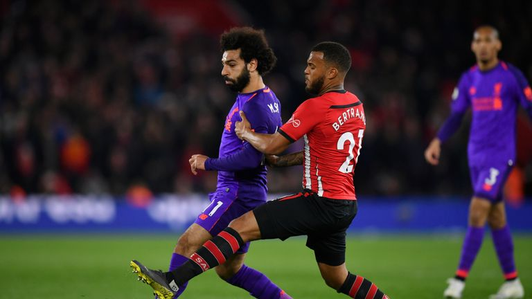 Mo Salah in action for Liverpool against Southampton