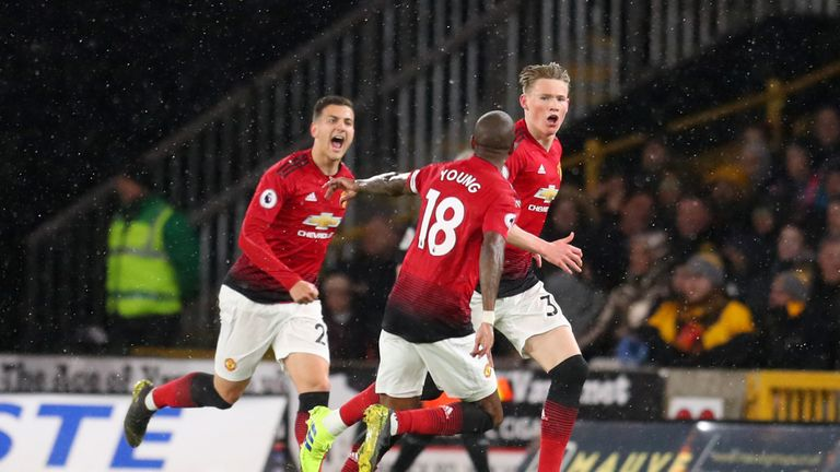 Scott McTominay celebrates scoring for Manchester United against Wolves