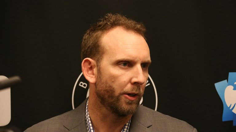 Brooklyn Nets General Manager Sean Marks speaks with the media before the game between the Brooklyn Nets and Chicago Bulls on February 8, 2019 at Barclays Center in Brooklyn, New York.