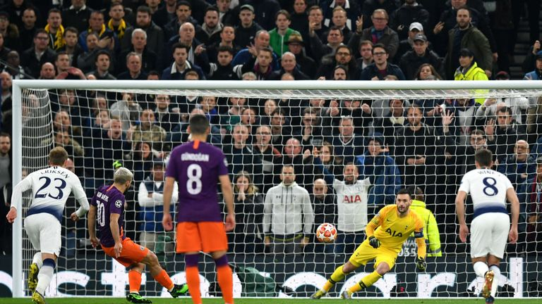 Sergio Aguero saves Hugo Lloris' penalty in the first leg before Spurs won 1-0