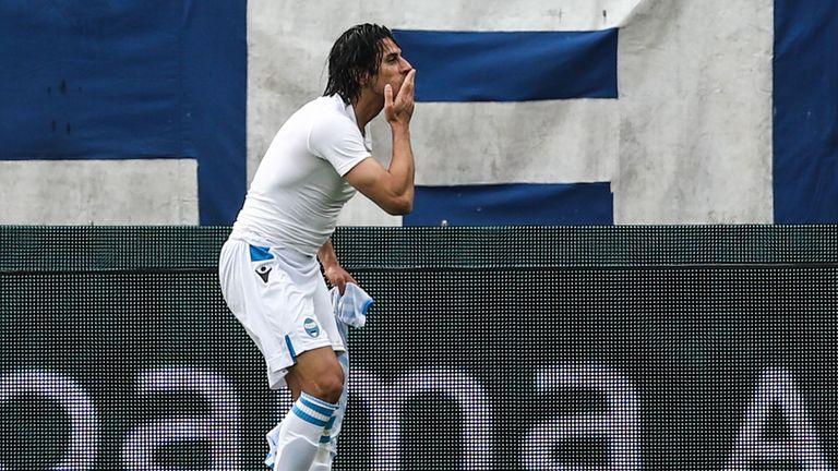 Sergio Floccari celebrates after scoring for SPAL