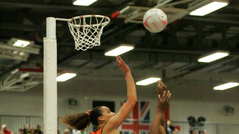 Sam Cook defending against Manchester Thunder in Round 14 of Vitality Netball Superleague (Credit: Mark Pritchard)