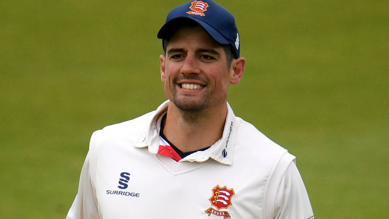 Sir Alastair Cook scored a half-century in his first innings for Essex since retiring from international cricket
