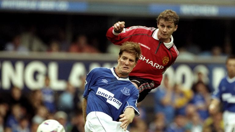 Solskjaer in action for United against Everton at Goodison Park in August 1999