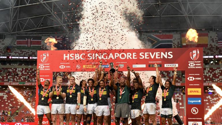South Africa celebrate after winning the Singapore Rugby Sevens