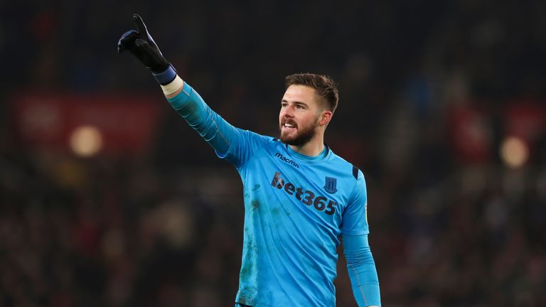 Jack Butland salutes the crowd during Stoke City's win over Leeds United