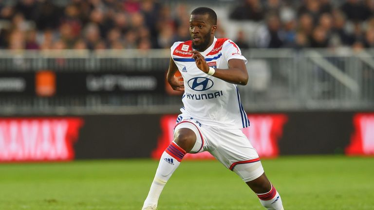 Lyon's Tanguy Ndombele in action during the Ligue 1 match against Bordeaux