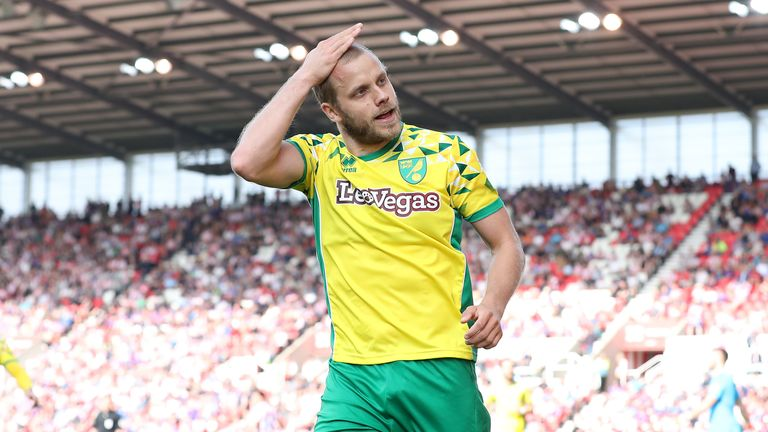 Norwich City's Teemu Pukki celebrates scoring his side's second goal of the game during the Sky Bet Championship match vs Stoke City at The Bet365 Stadium, Stoke.