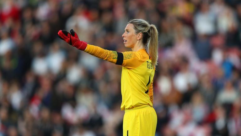 England goalkeeper Carly Telford has returned to Chelsea for monitoring after suffering concussion