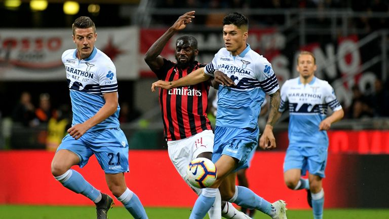 Bakayoko competes for the ball with Lazio's Joaquin Correa on Wednesday