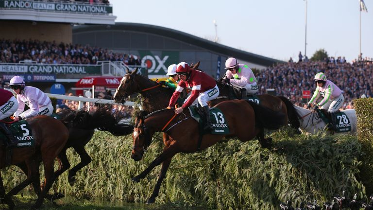 Tiger Roll at the Randox Health Grand National Handicap Steeple Chase at Aintree Racecourse on April 14, 2018 in Liverpool, England.