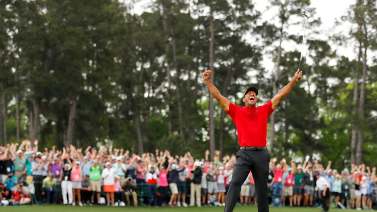 Woods went wild after tapping in the winning putt at the last