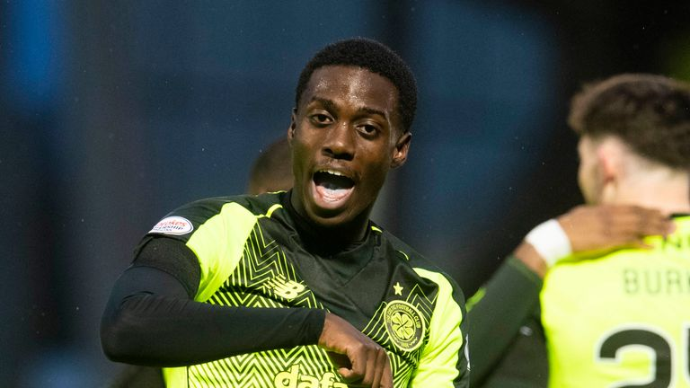 Timothy Weah celebrates giving Celtic the lead against St Mirren on Wednesday