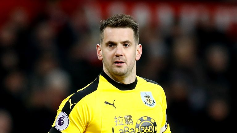 Burnley goalkeeper Tom Heaton in action against Manchester United at Old Trafford