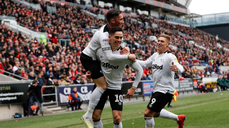 Derby County's Tom Lawrence (centre) celebrates scoring his teams first goal against Bristol City