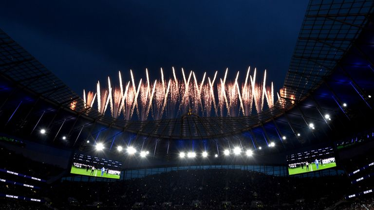A view from inside Tottenham Hotspur Stadium as fireworks are set off during the opening ceremony
