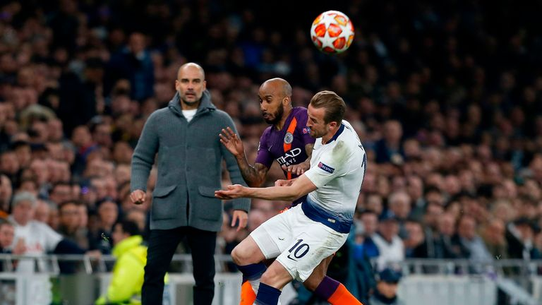 Harry Kane injured his ankle after tangling with Man City's Fabian Delph