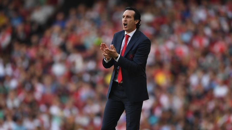 Arsenal Head Coach Unai Emery during the Premier League match between Arsenal FC and Crystal Palace at Emirates Stadium on April 21, 2019 in London, United Kingdom.