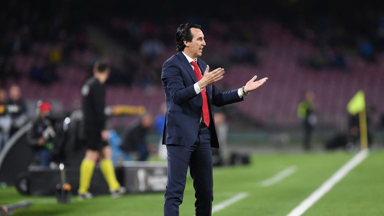 Coach of Arsenal Unai Emery reacts during the UEFA Europa League Quarter Final Second Leg match between S.S.C. Napoli and Arsenal at Stadio San Paolo on April 18, 2019 in Naples, Italy.