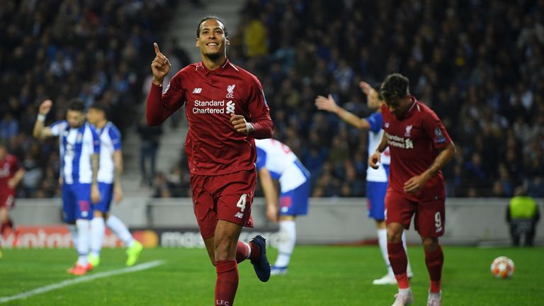 Virgil van Dijk headed in Liverpool's fourth at Porto