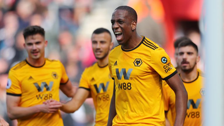 Willy Boly celebrates after his strike at Southampton