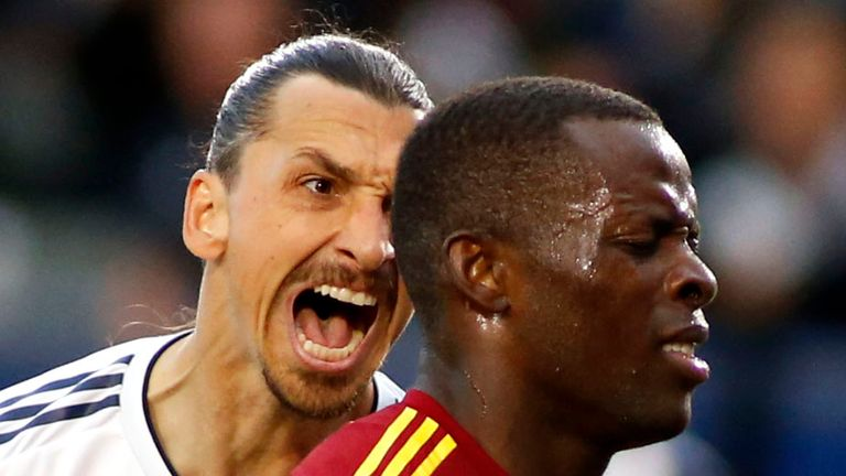 Zlatan Ibrahimovic celebrated his winner against Real Salt Lake in Nedum Onuoha's ear
