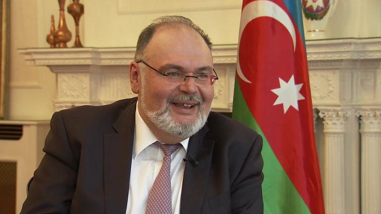Azerbaijan's UK ambassador Tahir Taghizadeh says Arsenal's Henrikh Mkhitaryan can contact him directly to guarantee his safety for the UEFA Europa League final.