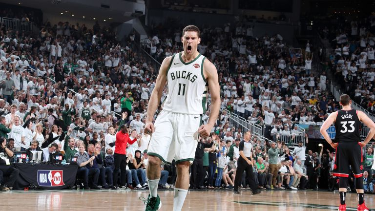 Brook Lopez reacts after making a big shot in Game 1 of the Eastern Conference Finals