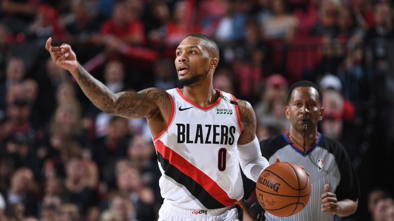 Damian Lillard controls possession for Portland in Game 6
