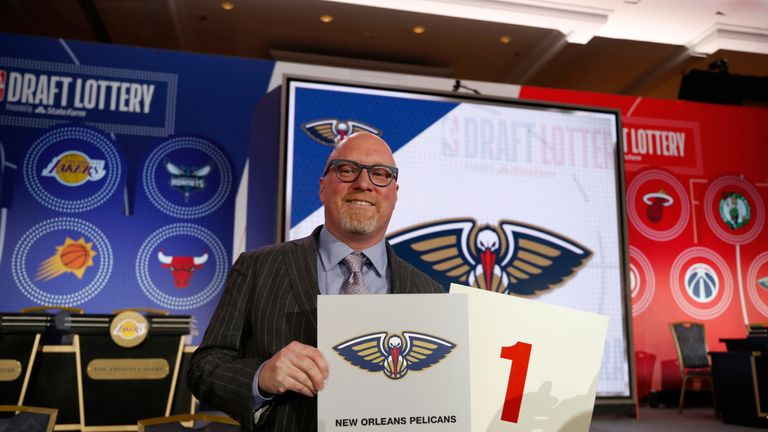 David Griffin poses after the New Orleans Pelicans won the right to pick first in the 2019 NBA Draft
