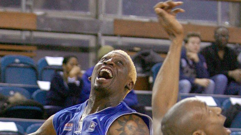 Dennis Rodman in action for the Brighton Bears in the BBL