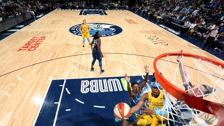 Diamond DeShields attacks the basket for the Chicago Sky