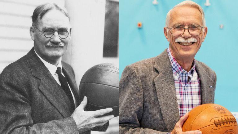 Dr James Naismith and his grandson Jim - photo left courtesy of University of Kansas, photo right courtesy of Simon Way/NBAE