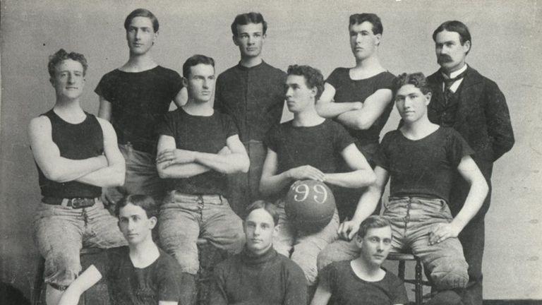 Dr James Naismith (top right) with the 1898-99 University of Kansas basketball team - photo courtesy of University of Kansas