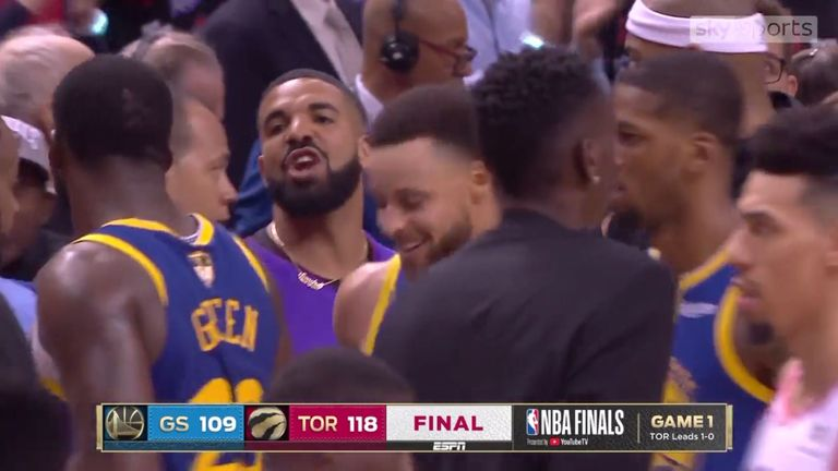 Drake and Draymond Green share a heated exchange after the Toronto Raptors beat the Golden State Warriors in Game 1 of the NBA Finals